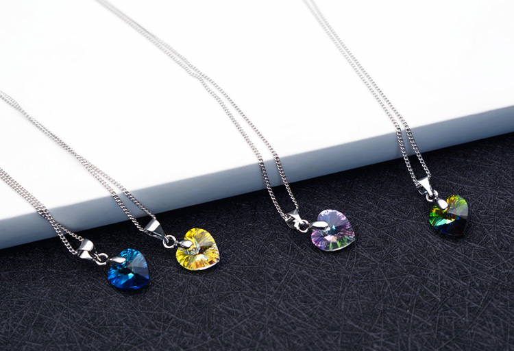 4 Heart Crystal Necklace
