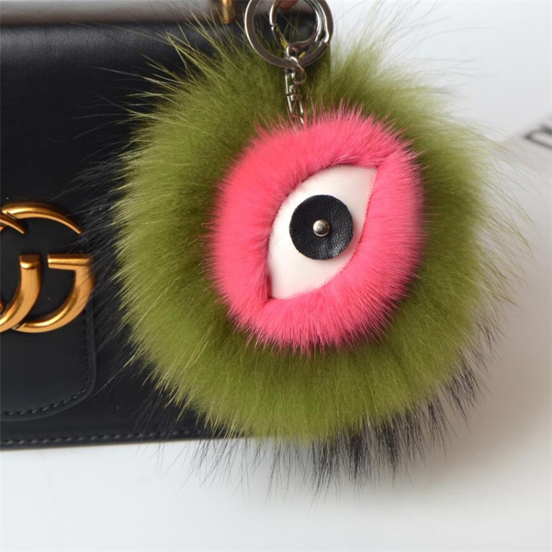 2017 fashion car fox fur fur fluffy pineapple Pom Pom monster insect bag charm key ring key ring PU leather tassel Pom straw clutch bag with pom pom
