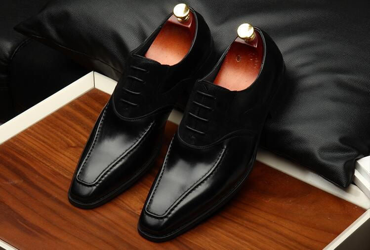 Oxfords Casual Business Zehen Aus Smart Patchwork Schuhe Derby Männer Nubuk Bis Formale Schwarzes Echtem Leder Spitze Quadrat Klassische nwapxCq7