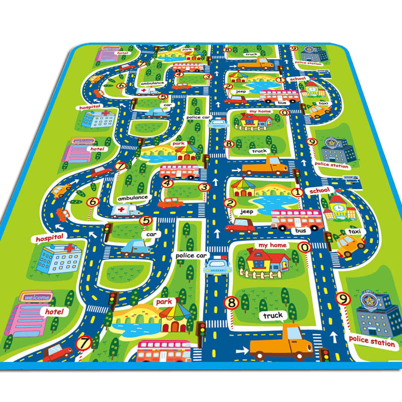 Fashion Children Play Mats City Road Pattern Moisture-proof Carpet Baby Kids Game Crawl Mat Outdoor Picnic Camping Rugs @Z445