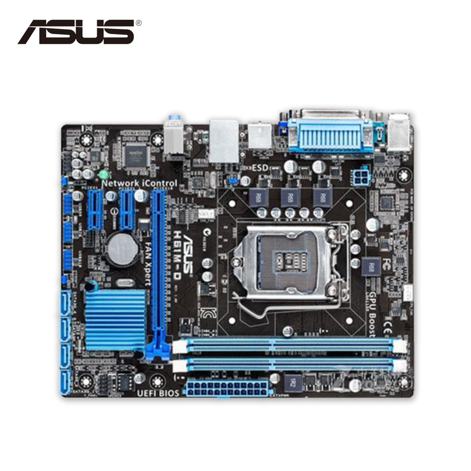 Asus H61M-D Original Used Desktop Motherboard H61 Socket LGA 1155 i3 i5 i7 DDR3 16G uATX On Sale original new desktop motherboard for asus p7h55 m usb3 h55 support socket lga 1156 i7 i5 i3 maximum ddr3 16gb sata2 2 usb3 uatx