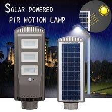 60 Вт светодио дный Сенсор Панели солнечные питание Уолл-стрит свет движения PIR лампа Алюминий сплав Wterproof IP67 для наружного освещения пути