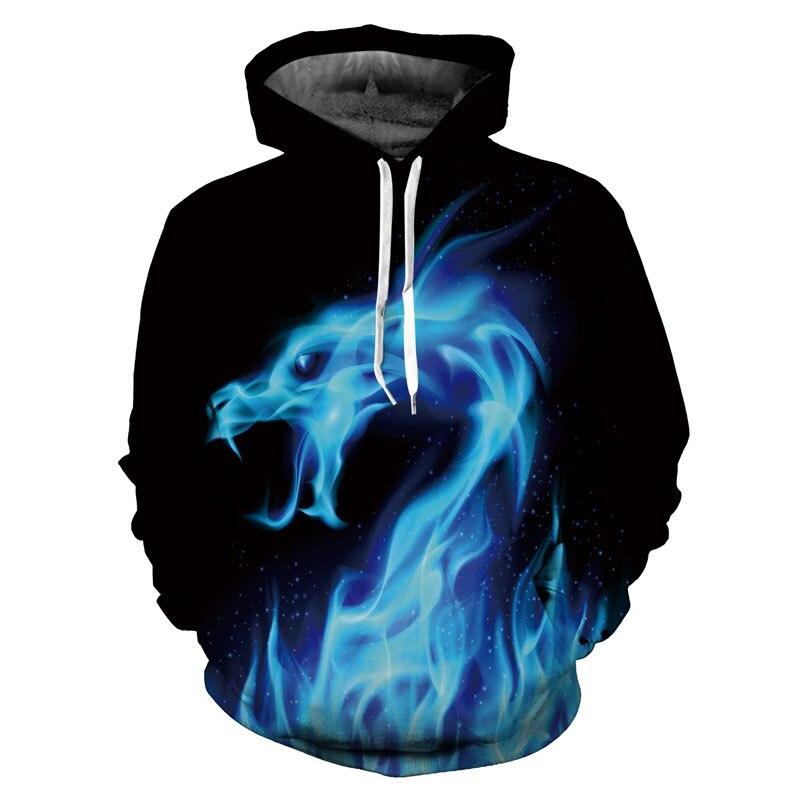 Headbook Fashion Hoodies Women/Men 3d Sweatshirts Print Fire Dragon Hooded Hoodies Snake Sweatshirts Unisex Pullover 17071004