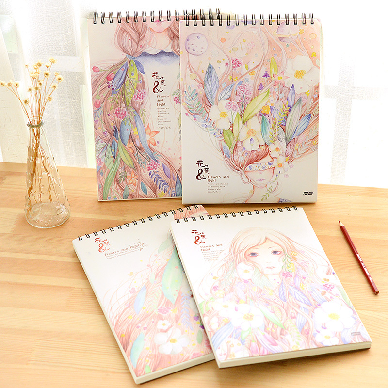 K&KBOOK VAN GOGH Sketchbook Flower Night Paper Notebook A4 Spiral Notebook Diary Notepad For Animation Manga Drawing Painting