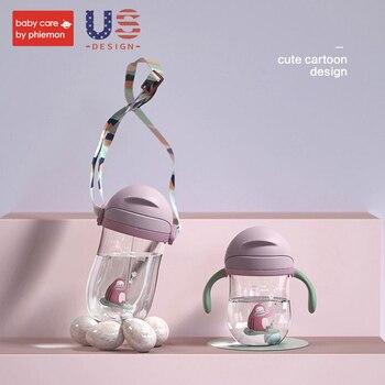 Bebek bakımı Bebek Su Şişesi Bebek Besleme Karikatür Yerçekimi Topu Kupası Flip Kapak Sızdırmaz Eğitim Kolu Saman içme şişesi 360ML