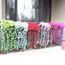 Artificial Hanging Flowers Artificials Violet Flower For Wall Wisteria Basket Garland Vine fake Silk Orchid Decoration