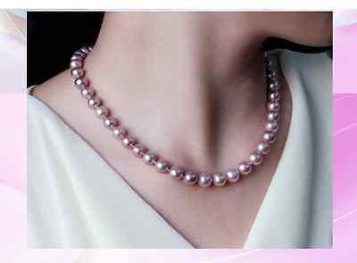 LIVRAISON GRATUITE vente CHAUDE nouveau Style>>>> belle naturel 12-13mm rose pourpre mers du sud perle collier 17inch14K