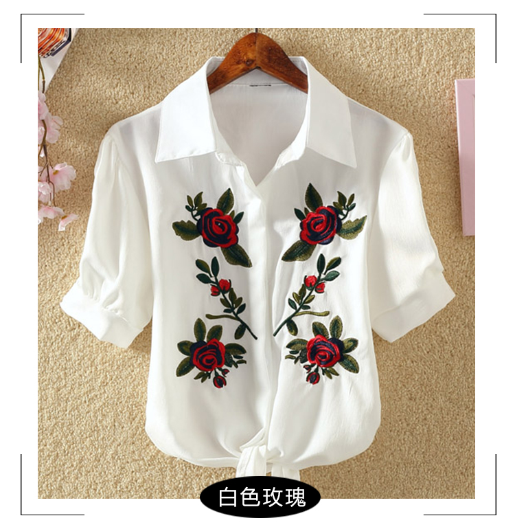 HTB1HOO8RFXXXXXMXFXXq6xXFXXXx - Women Shirts Korean Short Sleeve Flower Embroidery Clothes