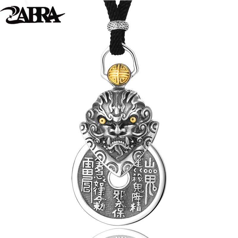 ZABRA 925 Sterling Silver Buddha Pendant For Men Necklace Vintage Punk Rock Chinese Coin Jewelry Pendants For Male Biker Jewelry fashion punk rock stainless steel eagle pendant live to ride necklace for men biker hero motorcycle titanium jewelry