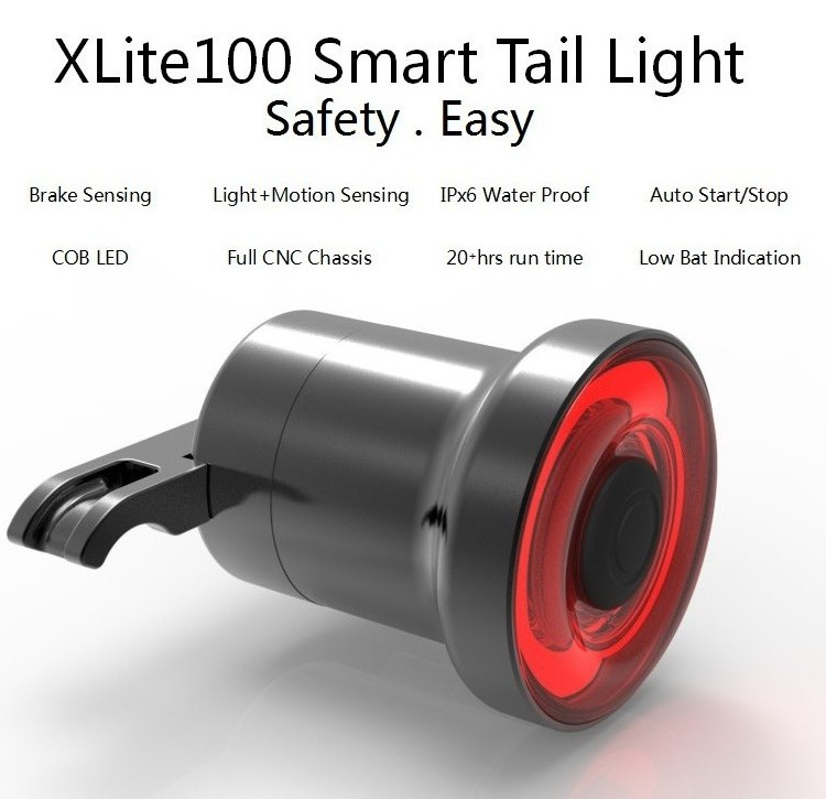 Bicycle XLITE100 Bicycle Rear Light Smart LED Braking Lamp Auto Manual Switch 50hours Runtime Safety Visual Warning Lantern in Bicycle Light from Sports Entertainment