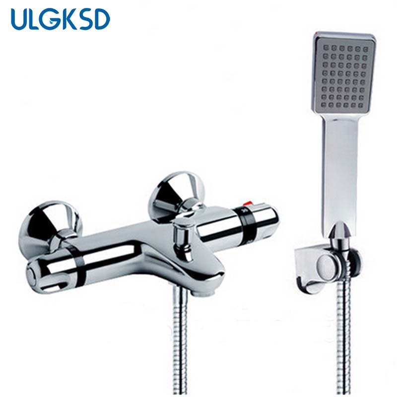 ULGKSD Bathroom thermostatic shower faucetf Rain Shower Faucets Thermostatic Valve with Shower hand Sprayer Mixer Water Tap bathroom basin faucet thermostatic bathroom crane water tap mixer with hand shower
