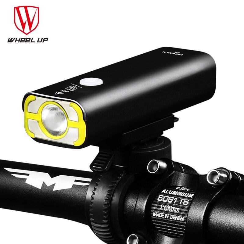 RODA para CIMA Usb Recarregável Luz Da Bicicleta Guiador Frente Bicicleta Conduziu a Luz Da Bateria Lanterna Tocha Farol Acessórios Para Bicicletas