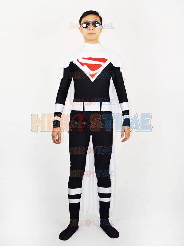 White Superman Costume Fullbody Spandex superhero zentai suit Most Popular halloween adult cospaly catsuit custom free shipping