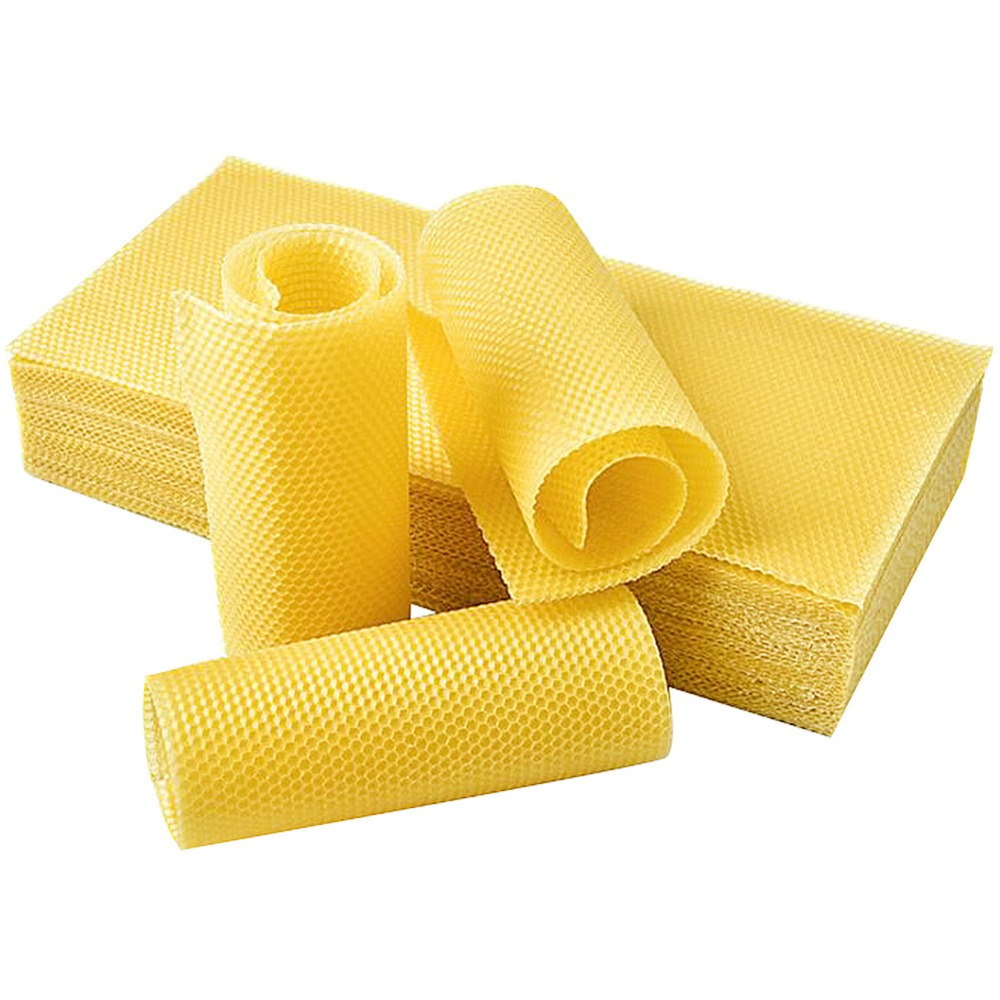 30 Pcs Beekeeping Tool Bee Beehive Nest 75% Wax Beeswax Tablets 42cm * 19.5cm * 0.3cm Gold Bee Honeycomb Material