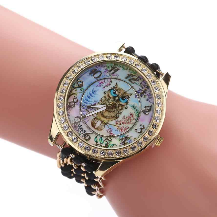 אופנה שעונים אישה שעון סריגה חבל שרשרת Winding אנלוגי קוורץ תנועת גבירותיי ינשוף ריינסטון חיוג יד שמלת שעונים