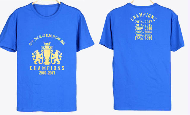 new product 1a6f1 235b5 Men's Short sleeve t-shirt Chelsea champion of the 16-17 Premier League  jersey Terry Eden Hazard Diego Costa Blue is the Colour