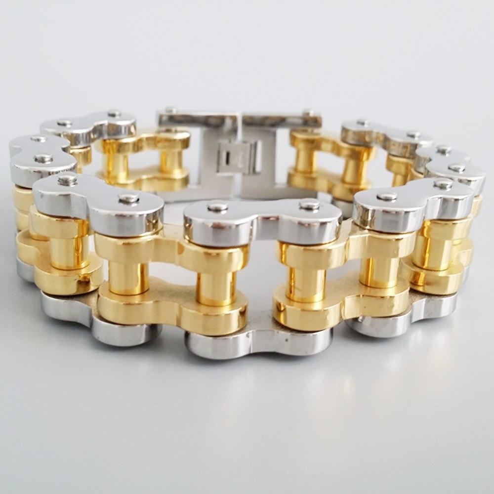 Мужские ювелирные изделия классический цвет серебристый, золотой два тона хип-хоп Двигатель Байкер Нержавеющаясталь Тяжелый Браслет 18 мм