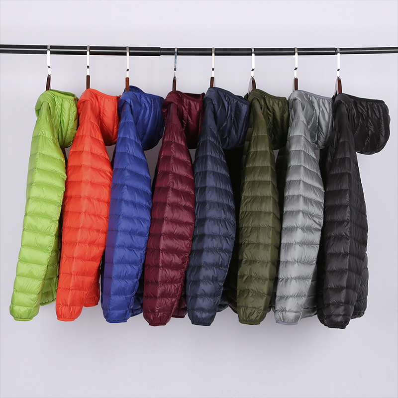 Men's White Duck Down Hooded Down Jacket Fashion Casual Winter Portable Thin And Light Warm Coat Male Brand Clothes 7 Colors