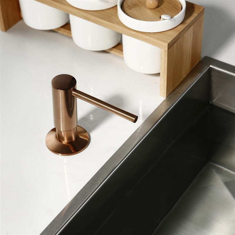 Built In Solid Brass  Soap Dispenser  Design Easy Installation - Well Built Brushed Rose Gold