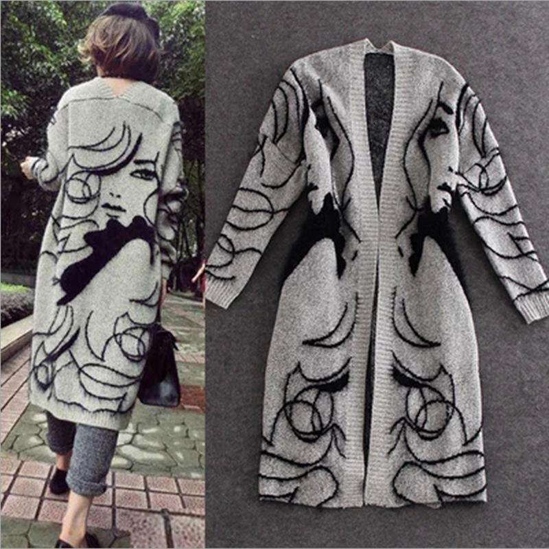 In the spring of 2016 the new model of national wind loose long knit womens cardigan sweater.