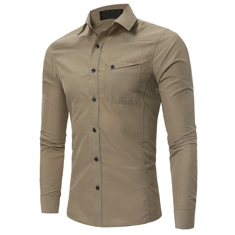 Brand 2018 Fashion Male Shirt Long-Sleeves Tops Classic Single Pocket Simple Color Casual  Mens Dress Shirts Slim Men Shirt