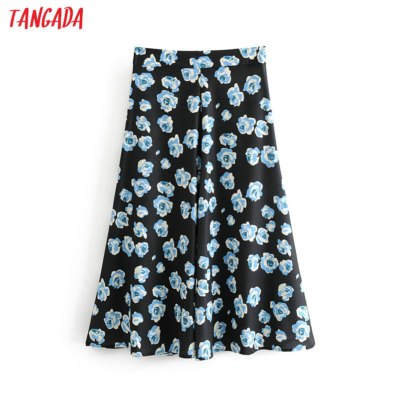 Tangada women vintage flower skirt zipper fly a line retro ladies fashion black chic ankle length skirts faldas mujer 6A241(China)