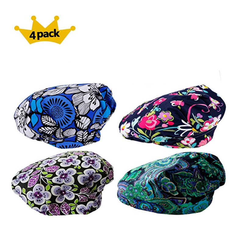 2017 Special Promotion Sale 4pcs Pack Doctor Scrub Cap Women's Bouffant Surgical Hat With Sweatband Inner For Women Long Hair