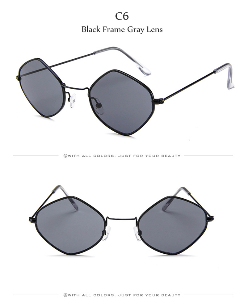 DIDI romb trójkąt małe okulary przeciwsłoneczne damskie męskie przezroczyste czerwone jasne Ocean okulary sześciokątne wielokąt cienkie okulary W752