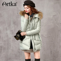 Artka Women Duck Down Coat Puffer Jacket 2017 Winter Parka With Fur Long Windbreaker Brand Raincoat