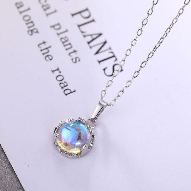 IPARAM collar de cadena azul con degradado para mujer Gargantilla color plata c rculos clav cula