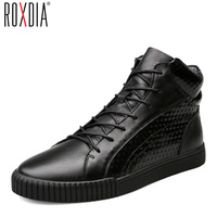 ROXDIA Men Boots Male Shoes Fashion Snow Winter Cow Leather Warm Waterproof Boot For Man Shoe