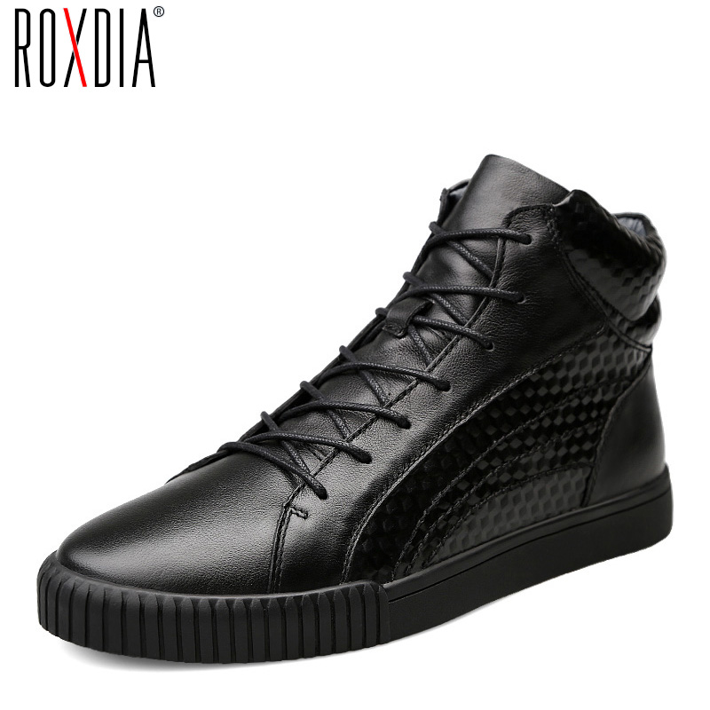 ROXDIA men boots male shoes fashion snow winter cow leather warm waterproof boot for man shoe big size 39-44 RXM058 casual waterproof boot silicone shoes cover w reflective tape for men black eur size 44 pair