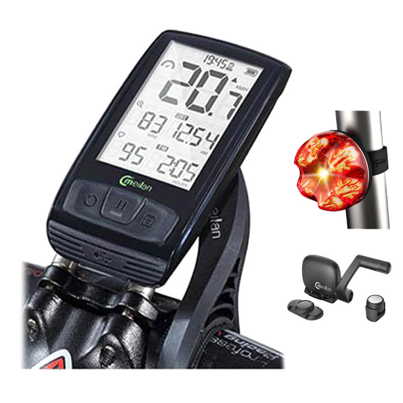 Wireless Bicycle Speedometer Meilan M4 and S1 Taillights Tachometer Heart Rate Monitor cadence Speed Sensor Waterproof