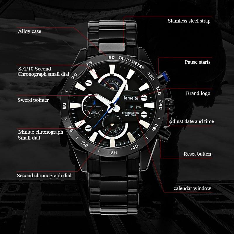 Temeite Men Sport Watch Waterproof Brand Luxury Quartz Men 39 s Wristwatch 6 Pointer Chronograph Date Military Male Clock Hodinky in Quartz Watches from Watches