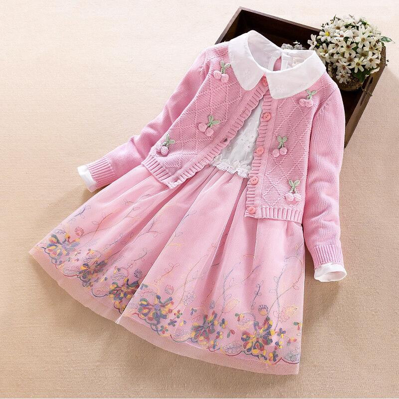 Girl Dress Long Sleeve Kids Dresses For Girls Clothes 2018 Autumn Winter Girls Pullover Knitted Sweaters Dress Vestido Infantil new spring autumn cotton long sleeved dress baby girls dresses for party floral costume for kids clothes vestido infantil t