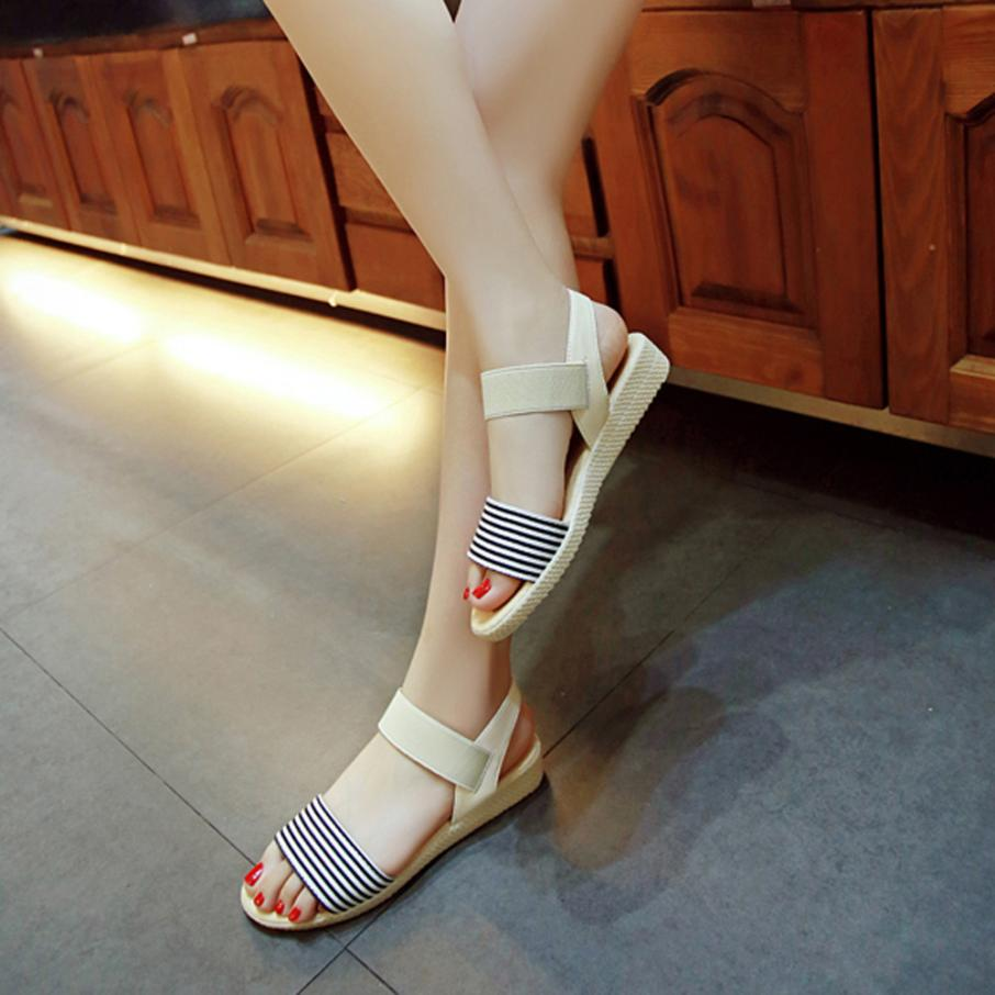 Fashion Women Flats Summer Hot Sale Sandals Female Stripe Flat Heel Anti Skidding Comfort Open Toe Beach Shoes Sandals Slippers 4