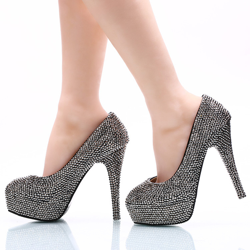 ФОТО 2017 Fashion Mine Black Women Party Prom Shoes Sparkling Crystal Nightclub High Heels Round Toe Wedding Party Pumps Large Size