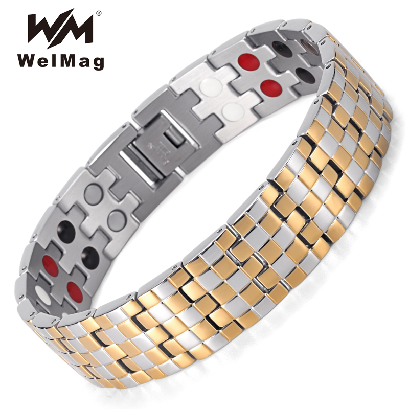 WelMag Men's Magnetic Bracelets Bangles Silver Gold Masculino Trendy Stainless Steel Therapy Double Row 4 Elements Bracelet