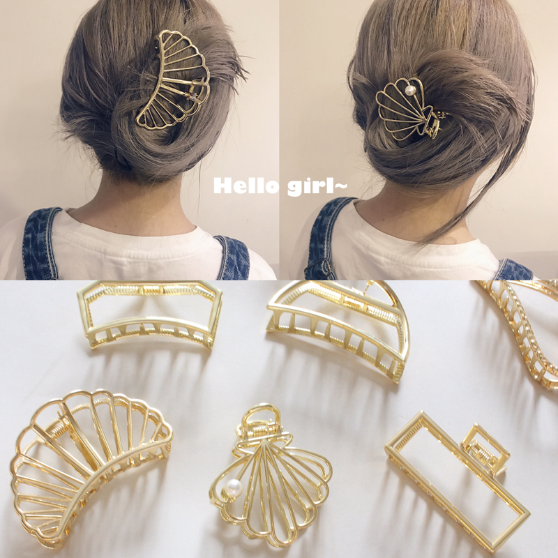 European and American Retro Women Hair Accessories Minimalism Metal Geometric Hairpin Large Shower Hair Grasps in Women 39 s Hair Accessories from Apparel Accessories