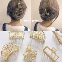 European and American Retro Women Hair Accessories Minimalism Metal Geometric Hairpin Large Shower Grasps