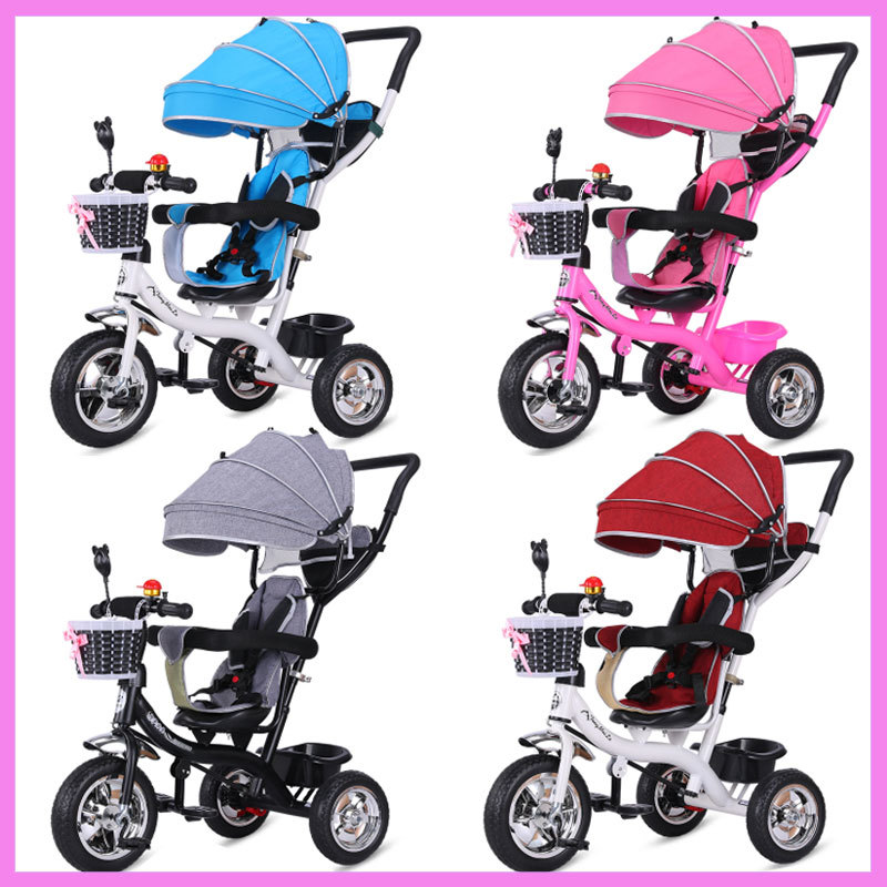 2 In 1 Baby Tricycle Stroller Three Wheels Stroller Baby Carriage Pram Toddler Child Tricycle Bicycle Jogging Stroller Buggies baby stroller pram bb rubber wheel inflatable tires child tricycle infant stroller baby bike 1 6 years old bicycle baby car