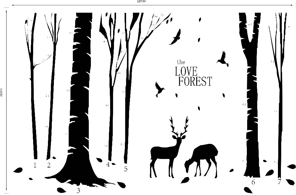 Vinyl Deers In Forest Wall Sticker Removable Cheap PVC House Decor Trees And Animal Decals Wall Murals Poster Home Decoration