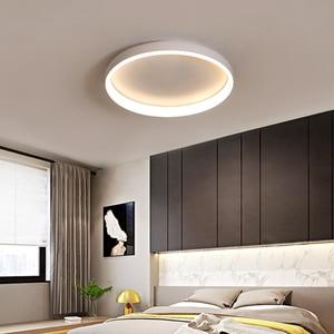 Image 1 - מודרני Led נברשת לסלון חדר שינה מחקר חדר עגול לבן/שחור/קפה צבע 110V 220V בית דקו נברשת מתקן
