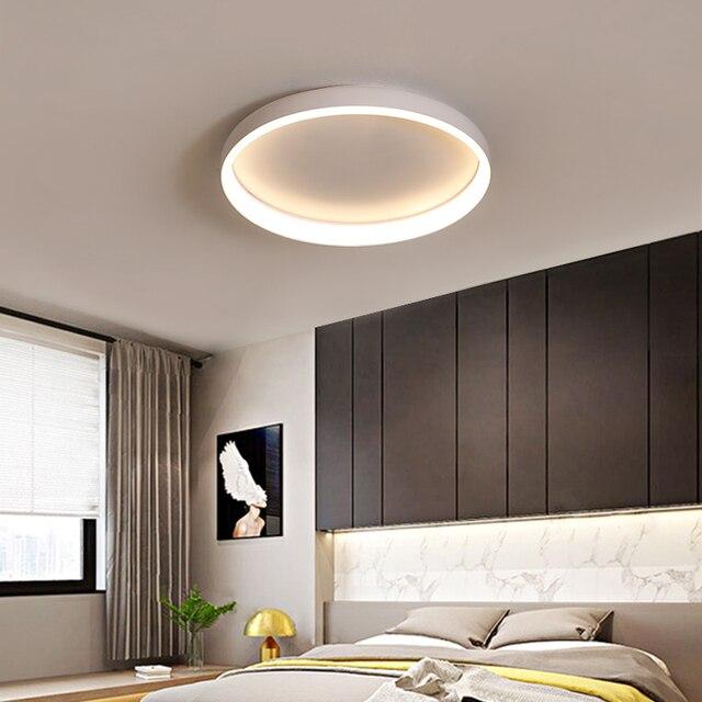 מודרני Led נברשת לסלון חדר שינה מחקר חדר עגול לבן/שחור/קפה צבע 110V 220V בית דקו נברשת מתקן