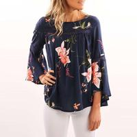 Tops Women Causal O Neck Flare Sleeve Loose Shirt Printed Elegant Blouses Hollow Out Blusas WS1600X