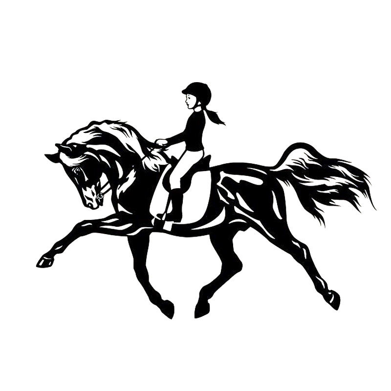 18cm*12.5cm Riding A Horse Jumping Sport Girl Interesting Vinyl Decal Black/Sliver Car Sticker S6-2826