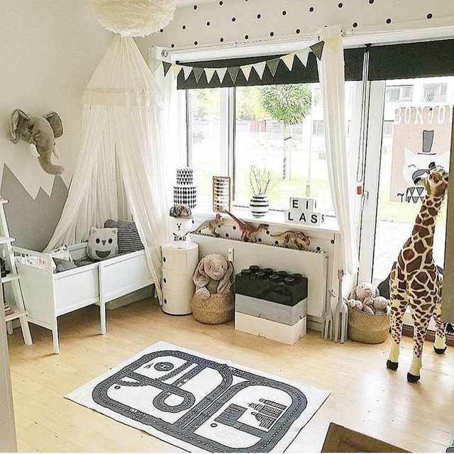 Canvas Car Track Children Crawling Mat Bedroom Living Room Carpet  Continental Game Pad Kids Room Road
