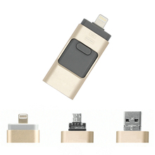 2017 Newest all 3 in 1 OTG USB3.0 Flash Drive 128gb Metal Pen Drive For Apple Android and windows mobile devices PC/MAC Notebook