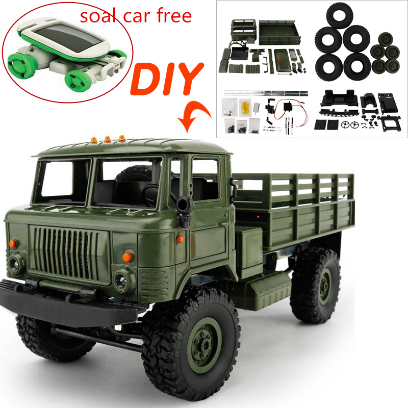 16 DIY 4WD Off-Road RC Truck Toys Remote Control Car Toys Military Truck Wheel Drive Machine for Radio Control RC Crawler Car 1 16 2 4g rc military truck toy remote control cars remote control truck rock crawler off road dirt toys big wheel car kid gift