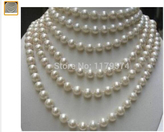 Femmes cadeau eau douce nouvelle mode all-match fille LONG 100 pouces 8-9 MM blanc Akoya culture perle collier perles bijoux ma